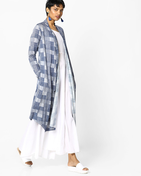Printed Shrug With Checks By Project Eve WW Athleisure ( Blue )