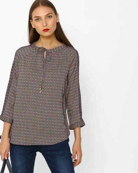 Geometric Print Top With Raglan Sleeves By FIG ( Beige )
