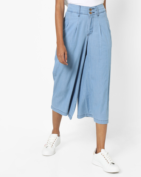 Pleated Denim Culottes By AJIO ( Lightblue )