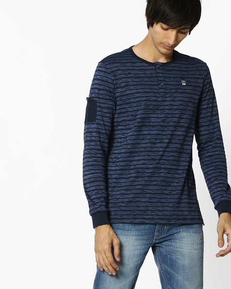 Striped Henley T-shirt With Shoulder Patch By SPYKAR ( Navy )