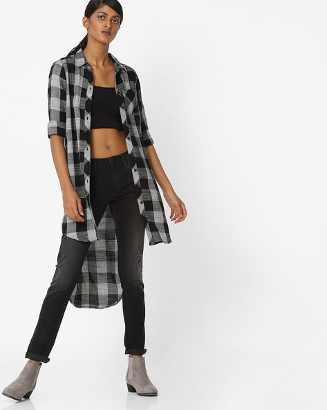Checked Longline Shirt With High-Low Hem By Vero Moda ( Black )