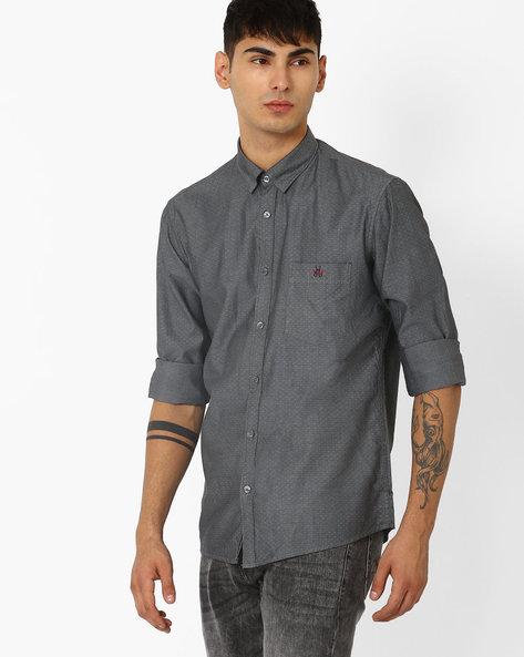 Slim Fit Shirt With Patch Pocket By CRIMSOUNE CLUB ( Ltgrey )