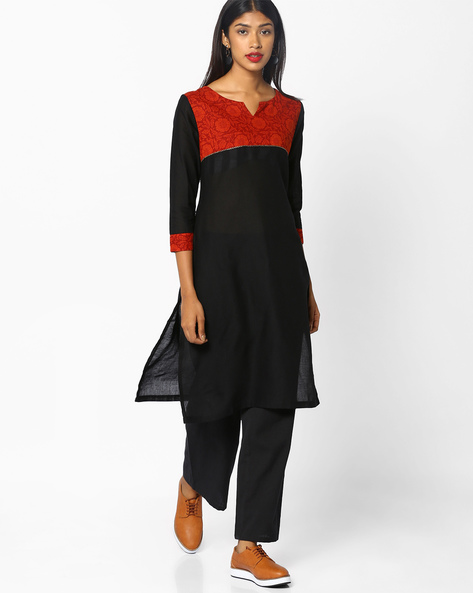 Straight Kurta With Contrast Yoke By SOCH ( Black )