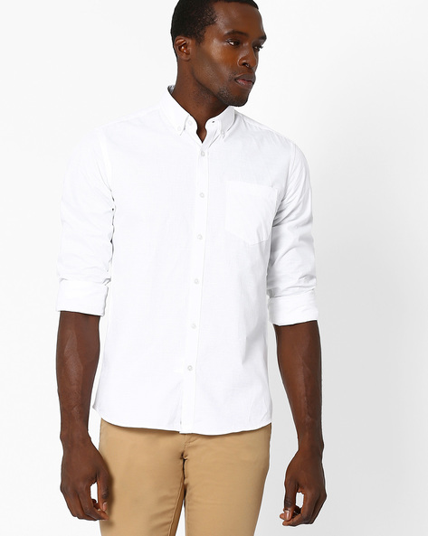 Slim Fit Shirt With Button-Down Collar By Black Coffee ( White )