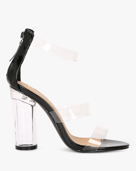 Clear-Heeled Sandals With Ankle Strap By Truffle Collection ( Black )