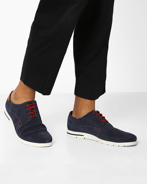 Lace-Up Panelled Shoes By AJIO ( Navy )