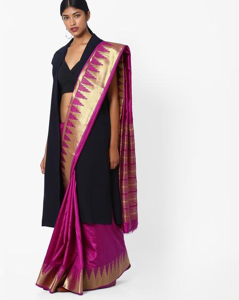 Woven Saree With Contrast Zari Border By Hitansh ( Purple )