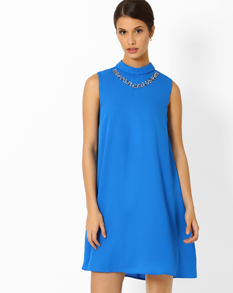 A-Line Dress With Embellishments By AJIO ( Blue )