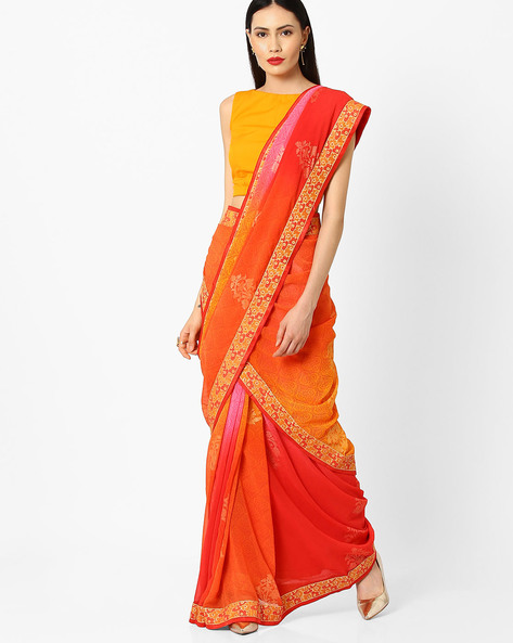 Printed Saree With Lace Border By Arissa ( Multi )
