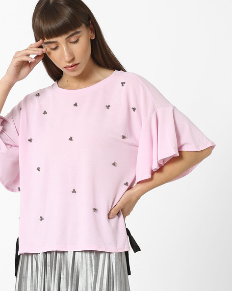 Embellished Drop-Shoulder Top With Bell Sleeves By Ginger By Lifestyle ( Lilac )
