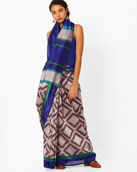 Geometric Print Saree With Contrast Border By Florence ( Blue )