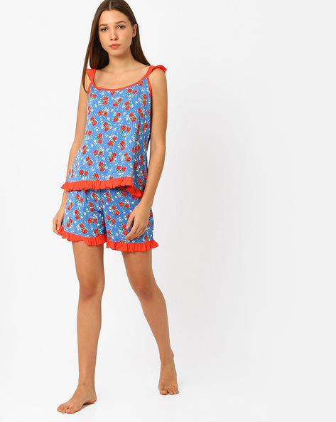 Floral Print Lounge Set By Heart 2 Heart ( Blue )