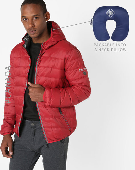 Convertible Ultralight Quilted Jacket With Hood By Point Zero ( Scarlet )