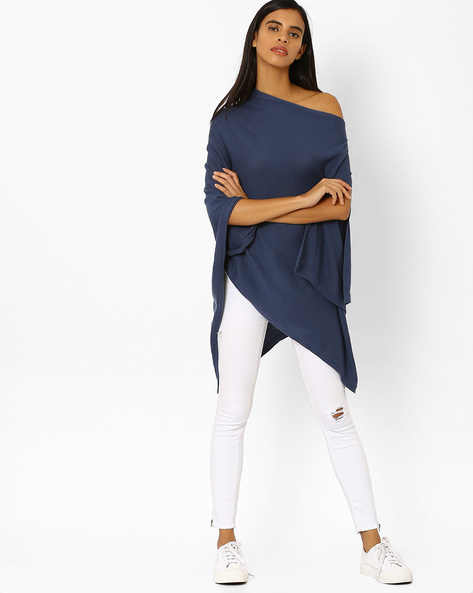 Knitted Off-Shoulder Poncho Top By Pluchi ( Blue )