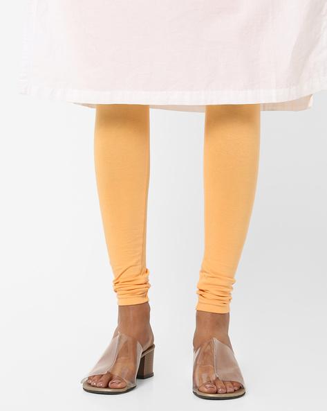 High-Rise Knitted Churidar Leggings By AJIO ( Mustard )