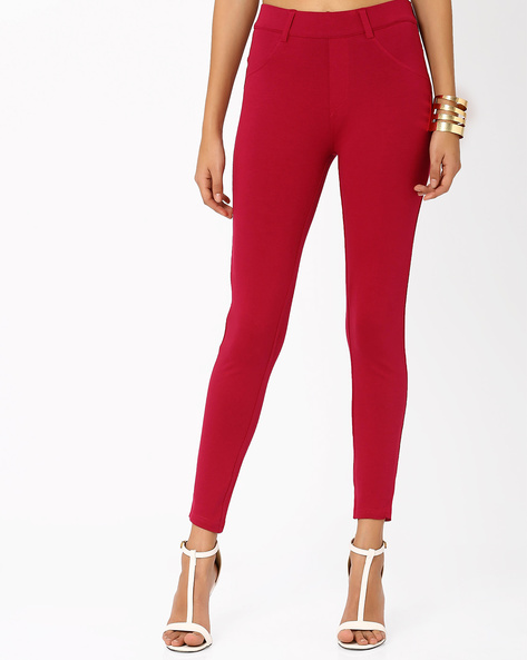 Ankle-Length Treggings By Honey By Pantaloons ( Purple )