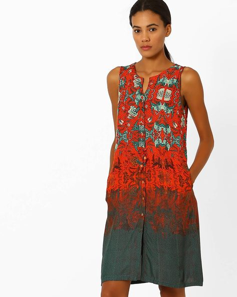 Floral Print Dress With Pockets By Global Desi ( Multi )