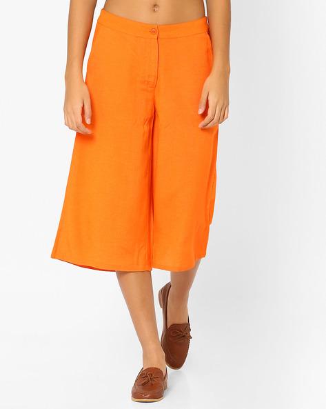 Culottes With Slant Pockets By AJIO ( Orange )