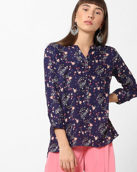 Floral Print High-Low Top By BOSSINI ( Blue )