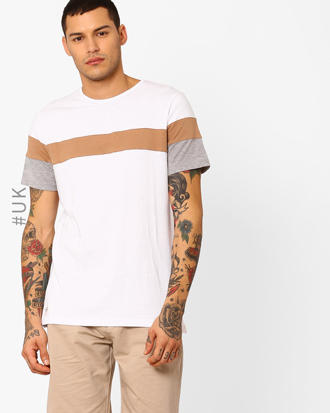 Cut & Sew Cotton T-shirt By Native Youth ( White )