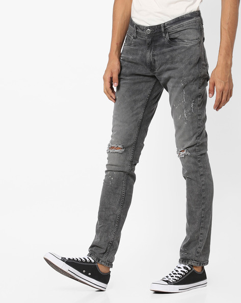 Distressed Slim Fit Jeans By Locomotive ( Black )