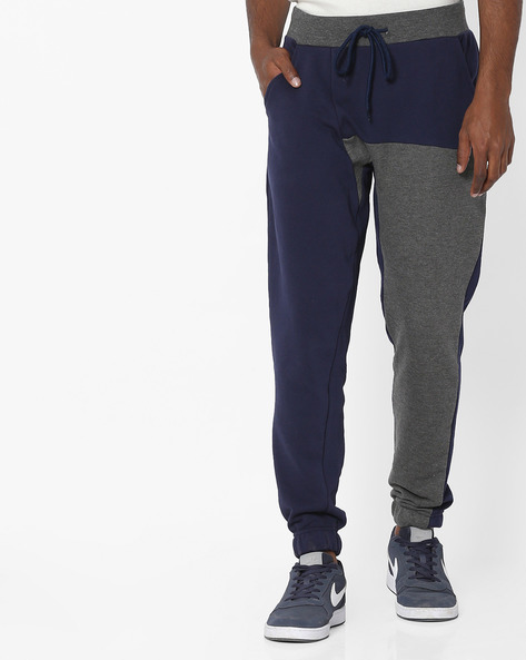 Colourblock Joggers With Drawstring Fastening By AJIO ( Black )