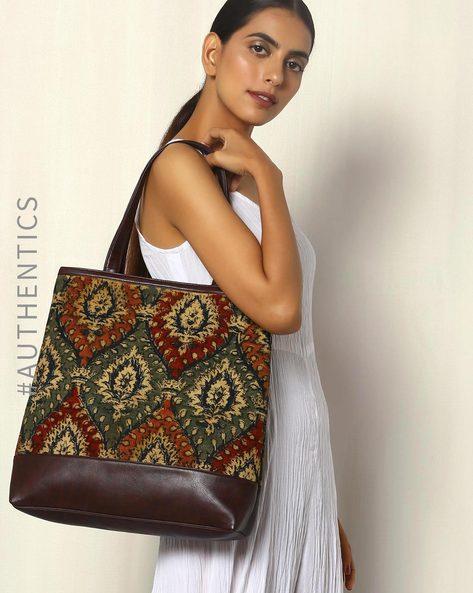 Handblock Print Kalamkari Kilim Tote Bag By A BIG INDIAN STORY ( Brown )