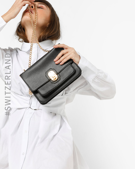 Textured Bag With Metal Sling Strap By TALLY WEiJL ( Black )