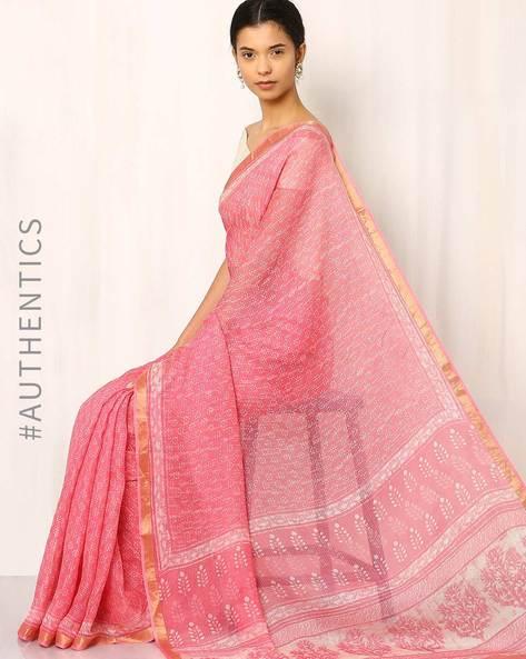 Bagru Print Kota Pure Silk Saree By Indie Picks ( Pink )
