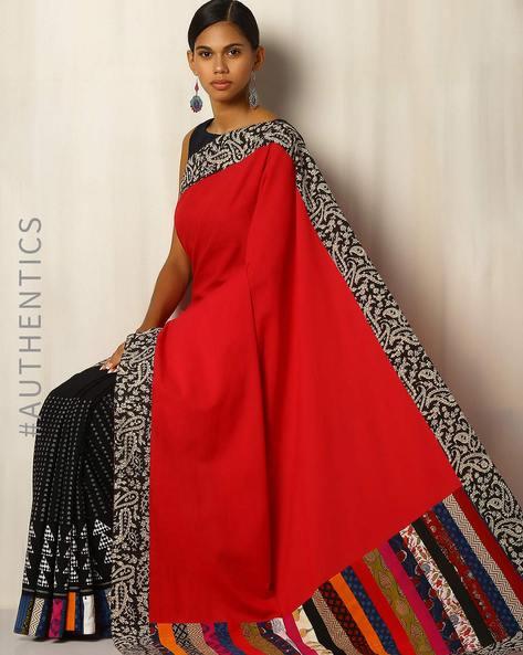 Half & Half Handblock Print Cotton Designer Saree With Patchwork By Addoz ( Multi )