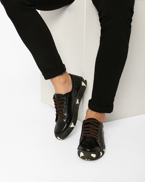 Faux-Leather Sneakers With Printed Outsole By AJIO ( Black )