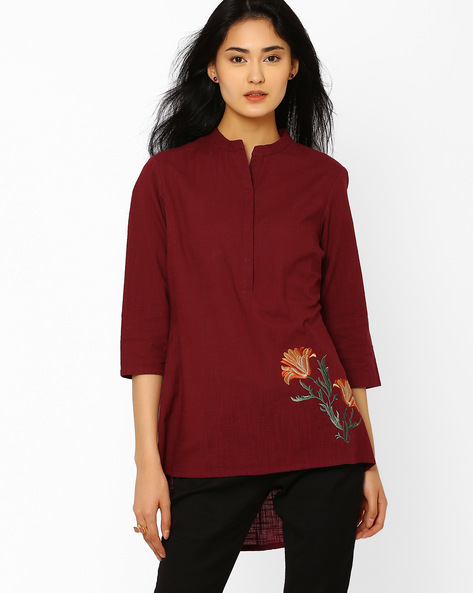 High-Low Tunic With Mandarin Collar By AJIO ( Mauve )