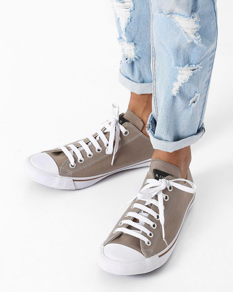 Canvas N9 Treated Lace-Up Sneakers By AJIO ( Grey )