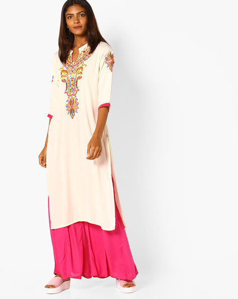 Embroidered Straight Kurta With Open Collar By Shree ( Cream )