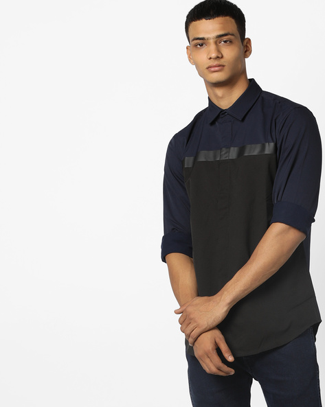 Colourblocked Shirt With Concealed Placket By Jack & Jones ( Blue )