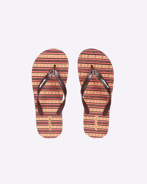 Aztec Print EVA Flip-Flops By Sole Threads ( Brown )