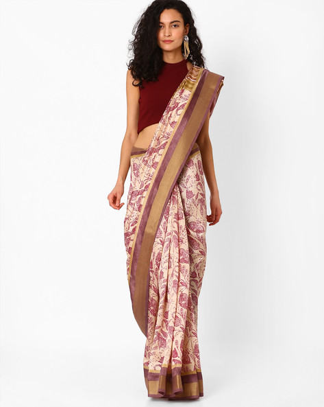 Floral Print Saree With Contrast Border By Hitansh ( White )