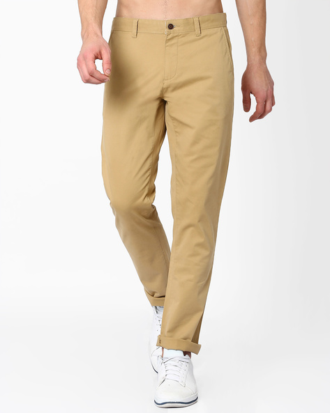 Mid-Rise Slim Fit Stretch Chinos By AJIO ( Beige )