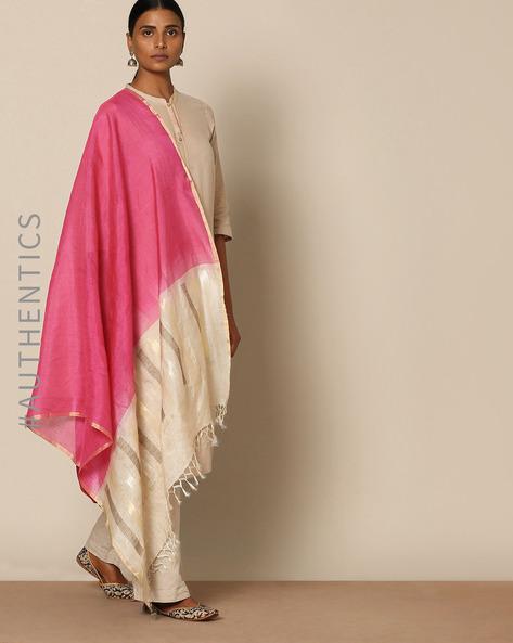 Handloom Pure Tussar Silk Muga Jamdani Dupatta By Indie Picks ( Red )