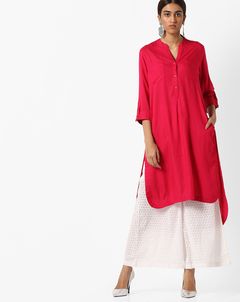 High-Low Kurta With Patch Pockets By Project Eve IW Casual ( Fuchsia )