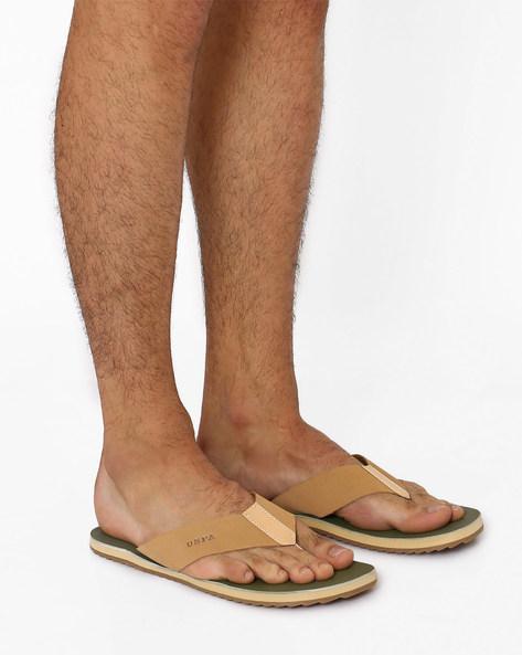 Leather Flip-Flops By USPA ( Camel )