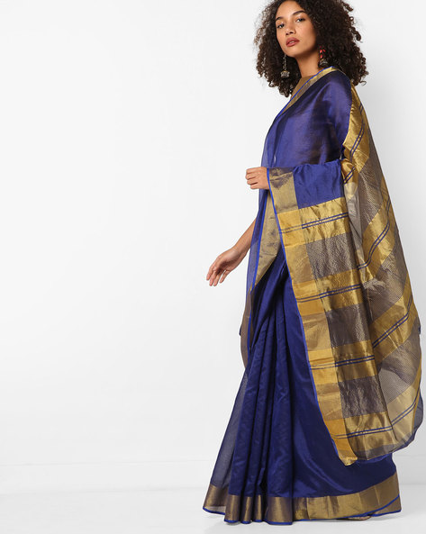 Silk Saree With Contrast Border By Florence ( Blue )