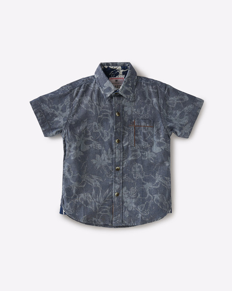 Floral Print Shirt With Patch Pocket By GINI & JONY ( Blue )