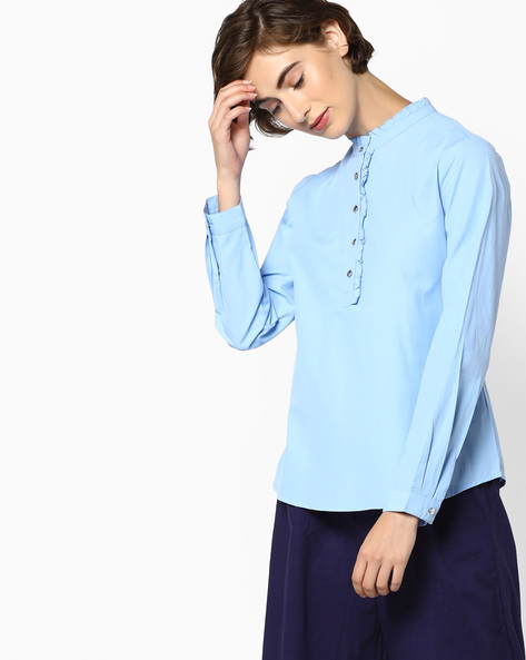 Full-Sleeved Shirt With Ruffle Collar By AJIO ( Blue )