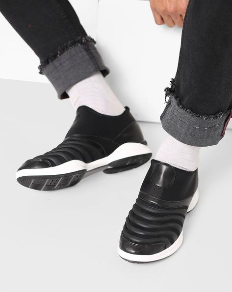 Panelled Slip-On Sneakers By AJIO ( Black )