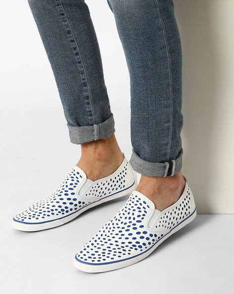 Faux Leather Slip-On Shoes By AJIO ( White )