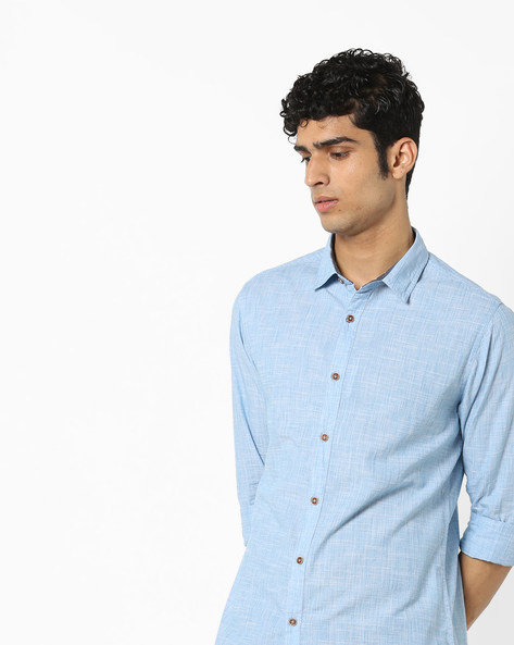 Pattern Woven Cotton Shirt By AJIO ( Blue )