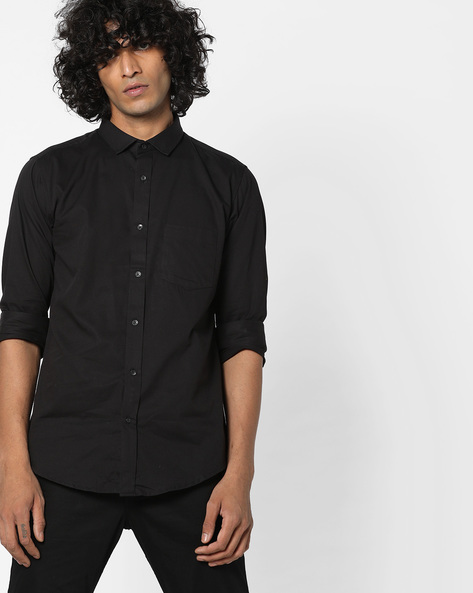 Slim Fit Dobby Shirt By BASICS ( Black )