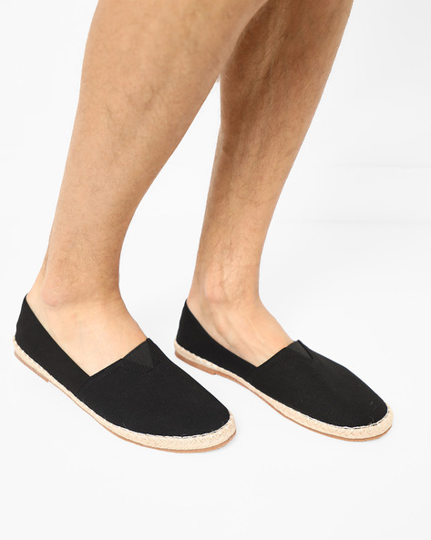 Slip-On Espadrille Shoes With Elasticated Gusset By AJIO ( Black )