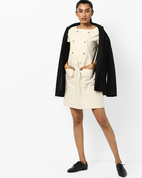 Shift Dress With Tie-Up By AJIO ( Offwhite )